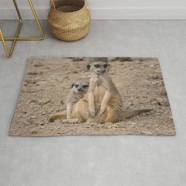 Cute African animals Male and Female Meerkats Rug