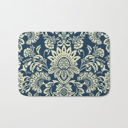 damask in white and blue vintage Bath Mat
