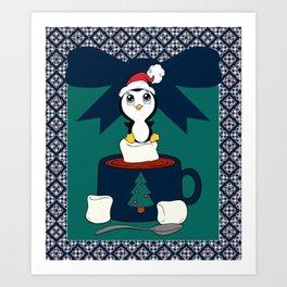 Hot Cocoa Holiday Penguin Quatrefoil Art Print