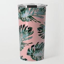 Pink and Green Tropical Leaf Print Travel Mug