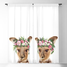 Baby Kangaroo With Flower Crown, Baby Animals Art Print By Synplus Blackout Curtain