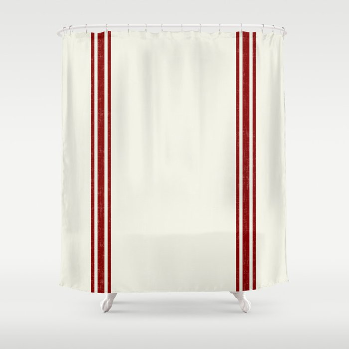 Vintage Country French Grainsack Red Stripes Creme Background Shower Curtain By Shabbyhappydesigns