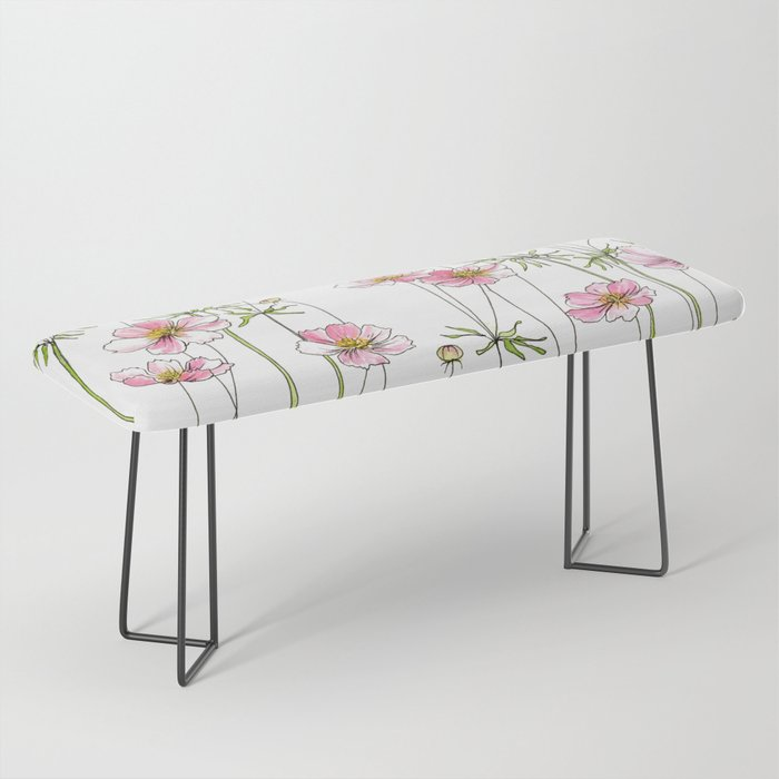 Pink Cosmos Flowers Bench