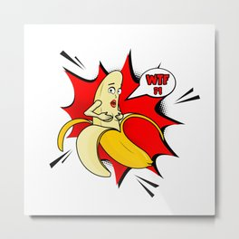 Vector adult character. Funny illustration naked banan with boobs and pop art cloud WTF. Banana stri Metal Print