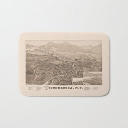 Ticonderoga Map 1884 (Sepia) Bath Mat
