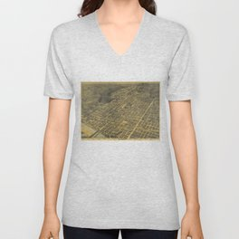 Vintage Pictorial Map of Austin Texas (1887) Unisex V-Neck