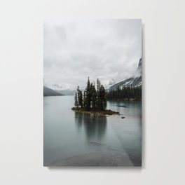 Landscape Maligne Lake Vertical View Metal Print