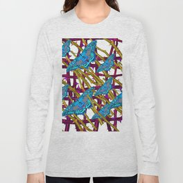 BLUE MOTHS ON ABSTRACT PURPLE THORN BRANCHES Long Sleeve T-shirt