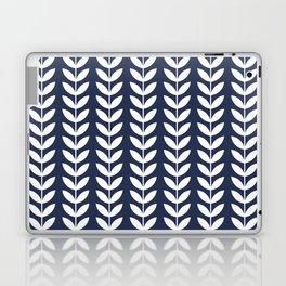Navy Blue and White Scandinavian leaves pattern Laptop & iPad Skin