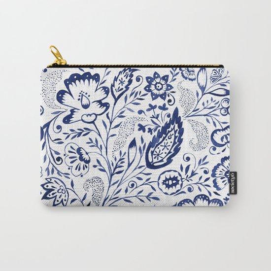 Folk Floral Indigo Carry-All Pouch