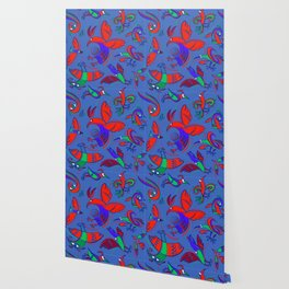 Pattern with Firebirds (on blue background) Wallpaper