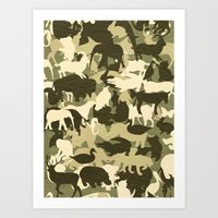 camouflage Art Prints featuring Camouflage by Diego Tirigall