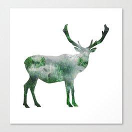 Green Forest Elk Spirit, Deer of the Woodland Canvas Print