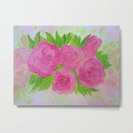 Roses in Crimson Pinks Fine Art Oil Painting by artist Rosie Foshee Metal Print