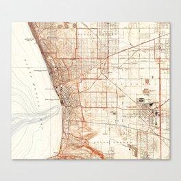 Vintage Map of Redondo Beach & Torrance CA (1934) Canvas Print