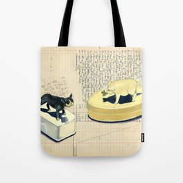 Vintage Pig and Dog Celluloid Boxes in Gouache Tote Bag