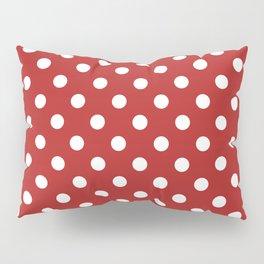 Small Polka Dots - White on Firebrick Red Pillow Sham