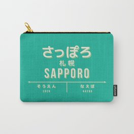 Retro Vintage Japan Train Station Sign - Sapporo Hokkaido Green Carry-All Pouch