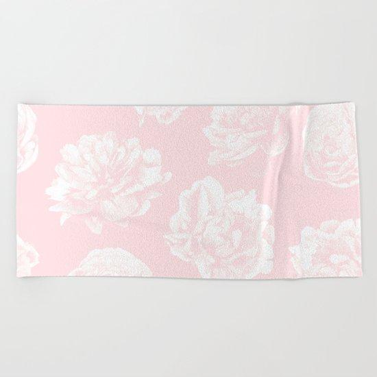 Pink Roses in Flamingo Pink Beach Towel