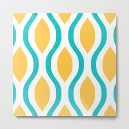 Pretty Ogee Pattern 387 Turquoise and Yellow Metal Print