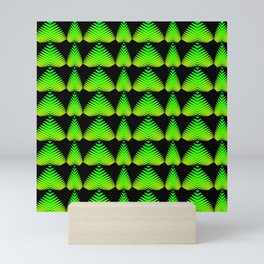 Alternating pattern of lime hearts and stripes on a black background. Mini Art Print