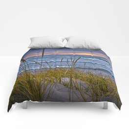 Sunset Photograph of a Dune with Beach Grass at Holland Michigan No 0199 Comforters