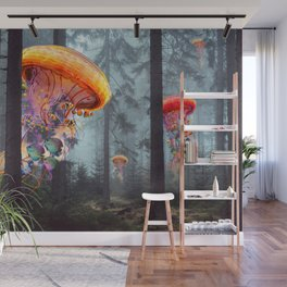 ElectricJellyfish Worlds in a Forest Wall Mural