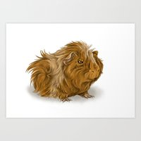 guinea pig Art Prints featuring grumpy old guinea pig  by Devon Busby Busbyart
