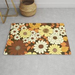 Brown, Orange, Ivory & Yellow Retro Flower Pattern Rug