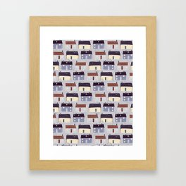 Houses Village Vector Pattern Repeat Seamless Background Framed Art Print