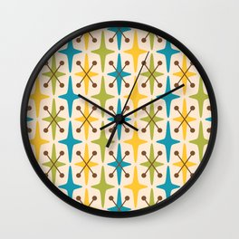 Mid Century Modern Abstract Star Pattern 441 Yellow Brown Turquoise Chartreuse Wall Clock
