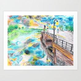 El cielo reflejado bajo un puente Art Print