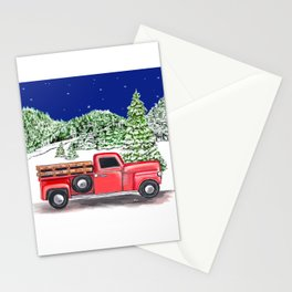 Old Red Farm Truck Winter Stationery Cards