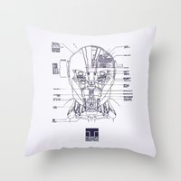 blueprint Throw Pillows featuring Blueprint by CromMorc