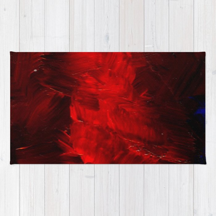 Red Abstract Paint Rug