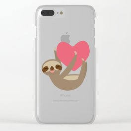 Valentines day card. Funny sloth with a red heart Clear iPhone Case