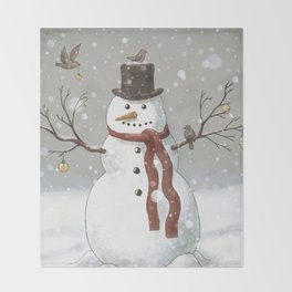 Christmas Snowman  Throw Blanket