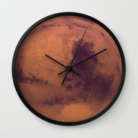 mars Wall Clocks featuring Mars by Tobias Bowman