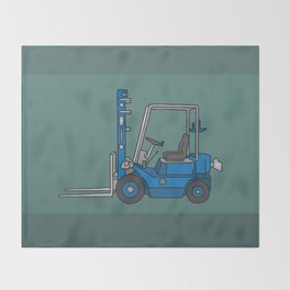Blue fork-lift truck Throw Blanket