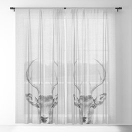 Deer 2 - Black & White Sheer Curtain