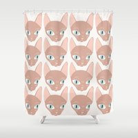 sphynx Shower Curtains featuring Sphynx by Shaye Display Illustrations