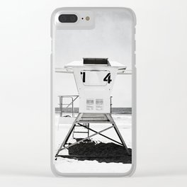 Black and White Beach Photography, Grey Lifeguard Stand, Gray Coastal Nautical Art Clear iPhone Case