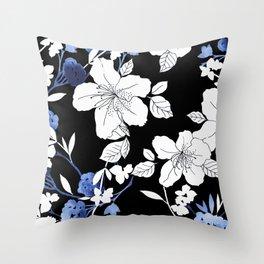 Black White Blue Floral Throw Pillow