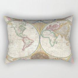 Map of the World in Hemispheres Rectangular Pillow