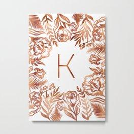 Letter K - Faux Rose Gold Glitter Flowers Metal Print