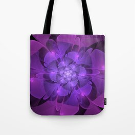 Purple Dew Drops | Abstract digital flower Tote Bag