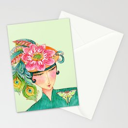 """""""do you like my hat?"""" woman in feathers and flowers watercolor art Stationery Cards"""