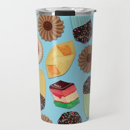 Assorted Cookies on Blue Background Travel Mug