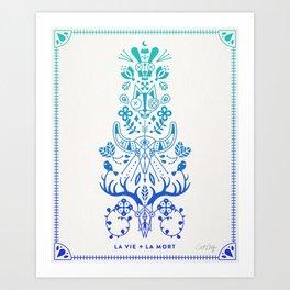 La Vie & La Mort – Blue Ombré Art Print