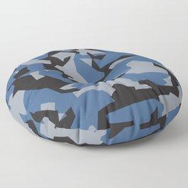 Camouflage Splinter Pattern Blue Floor Pillow